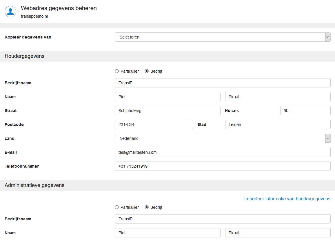 domein webadres gegevens beheren