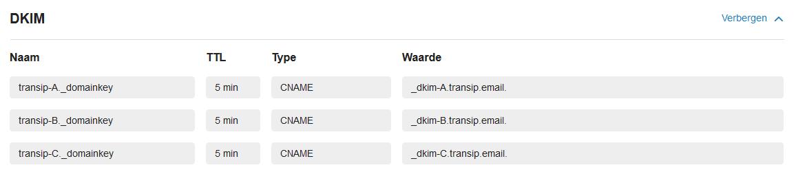 vps mailservice dkim records