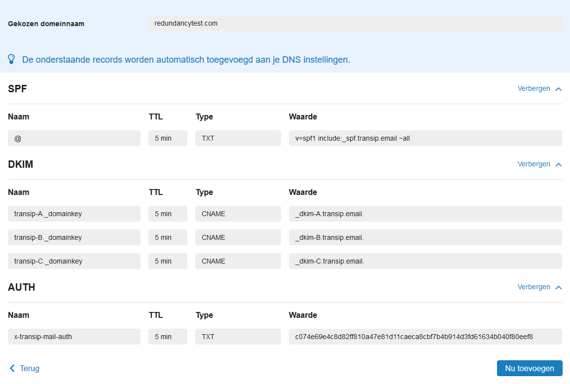 mailservice automatisch dns records toevoegen