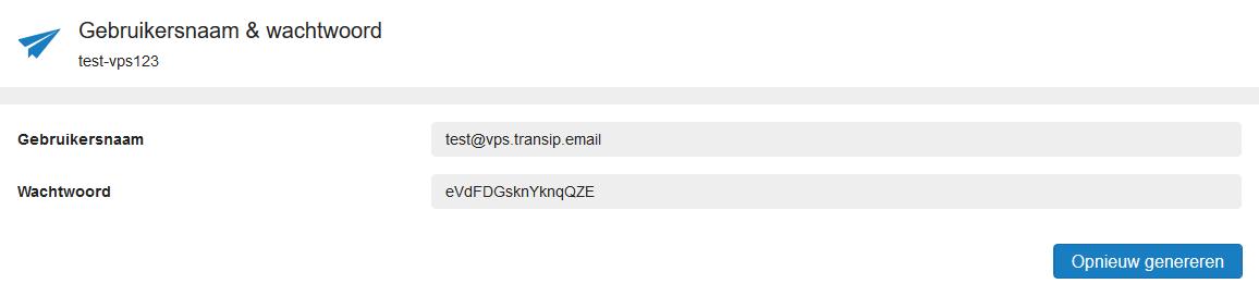 mailservice gebruikersnaam en wachtwoord