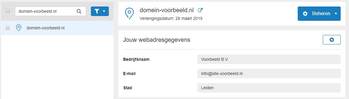 jouw webadresgegevens