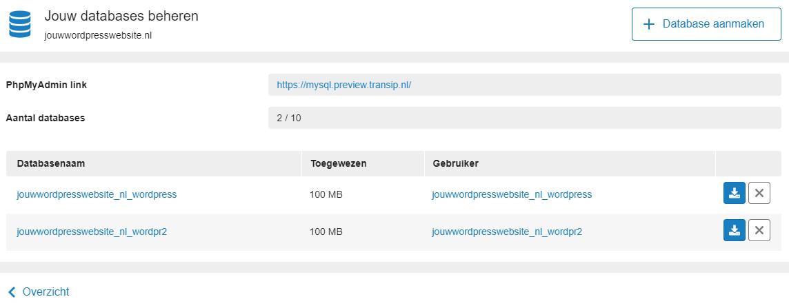 De database voor het subdomein is aangemaakt