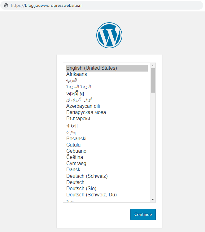 installeer wordpress op je subdomein