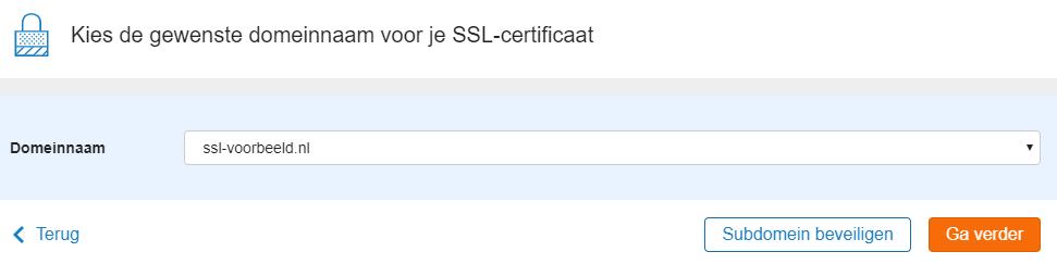 kies het domein voor het SSL-certificaat
