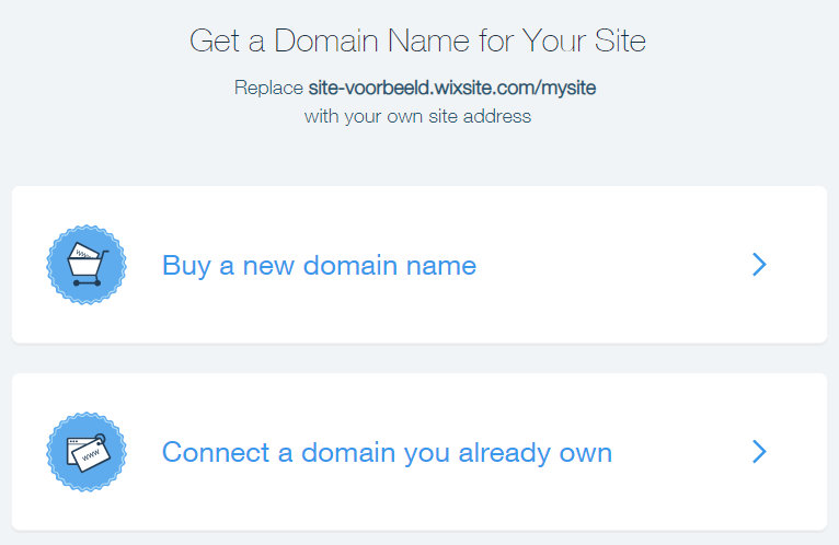 Klik op 'connect a domain you already own'