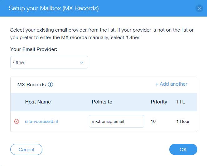 voeg het mx-record van je webhostingpakket toe