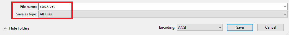 STACK batch file