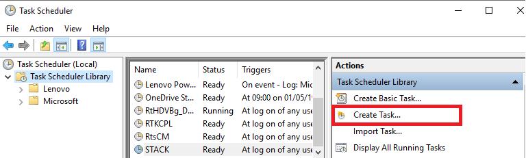 task scheduler create task