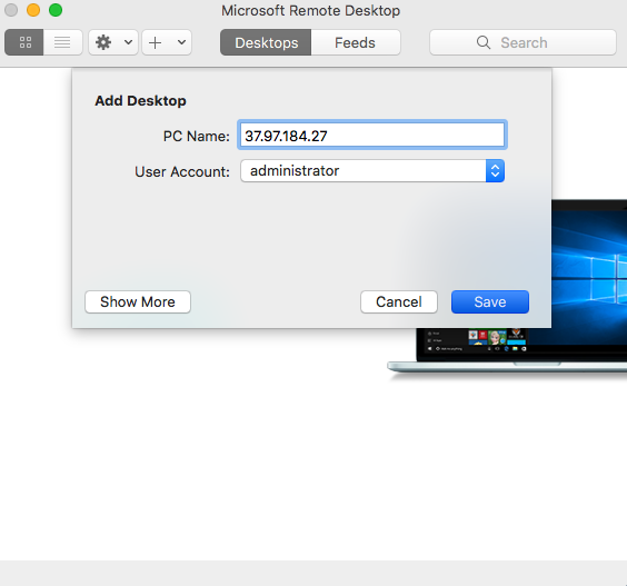 Mac Remote Desktop add desktop