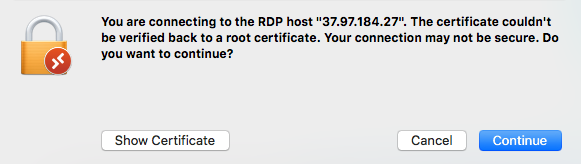 mac remote desktop ssl warning