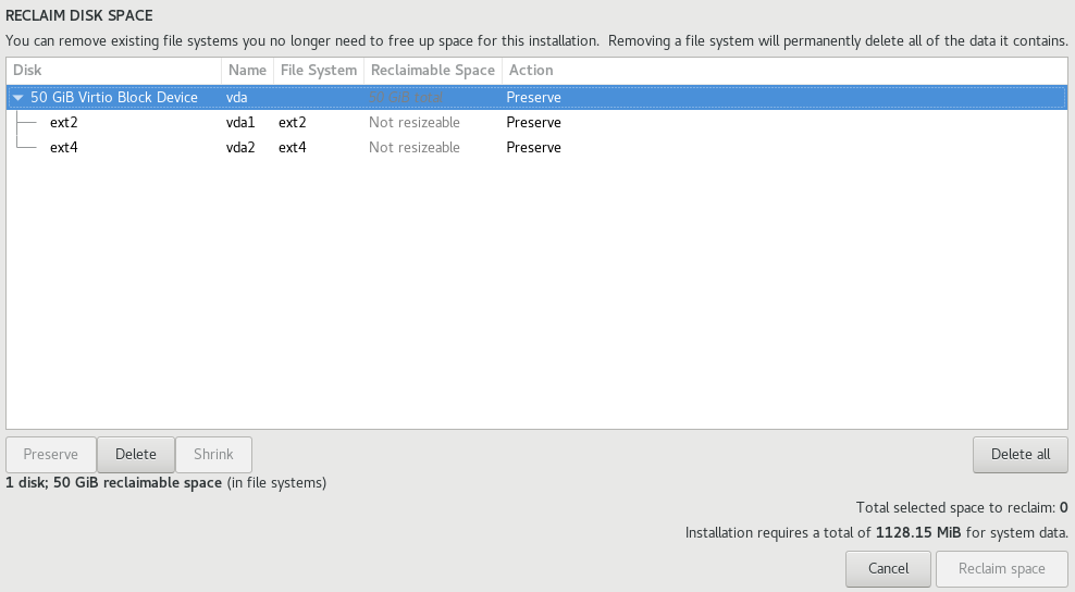 centos7 installation reclaim disk space