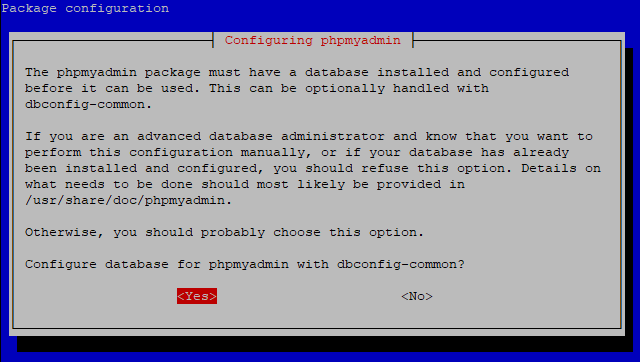 phpmyadmin dbconfig common