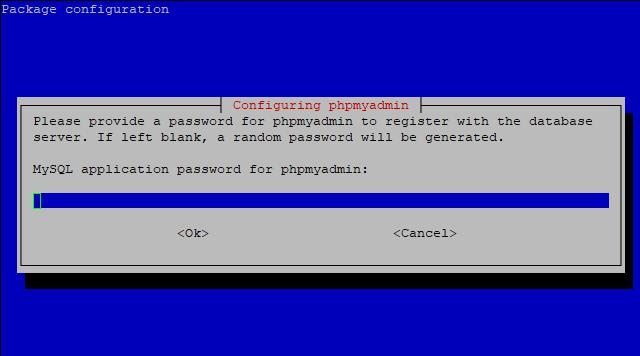 configuring phpmyadmin choose password