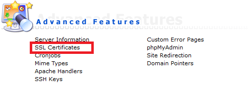 directadmin advanced features ssl certificates