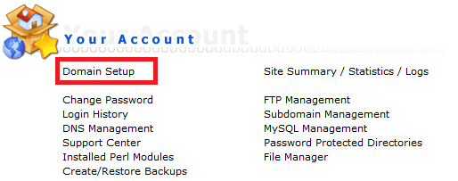 DirectAdmin select domain