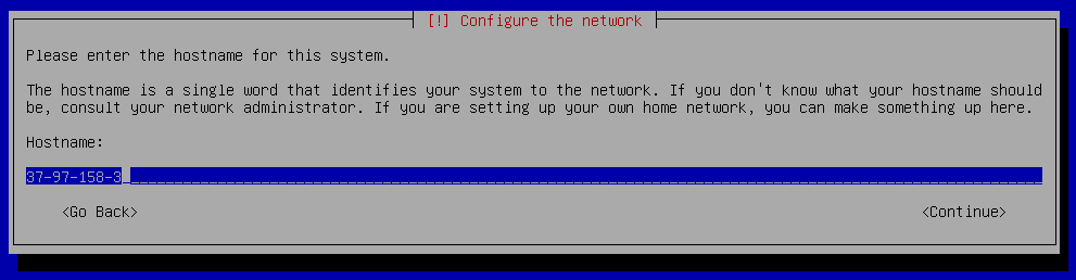 Debian 9 installation configure hostname
