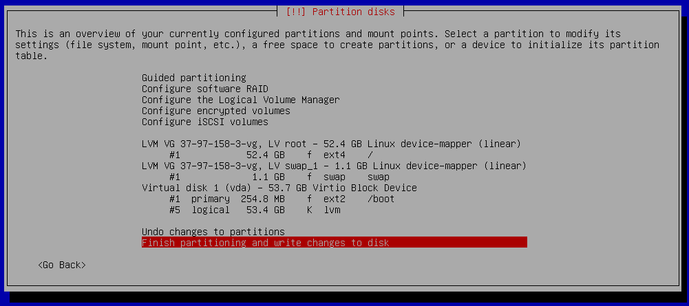 debian 9 installation partitioning check
