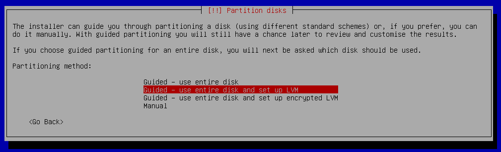 debian 9 installation select partition method