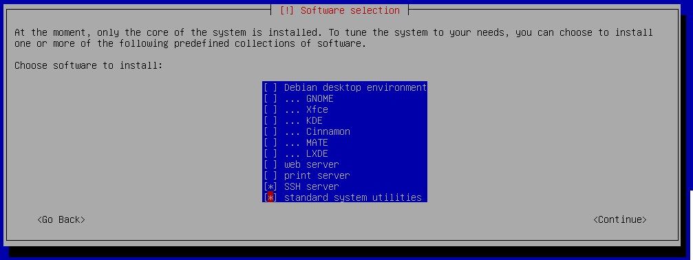 debian 9 installation software selection