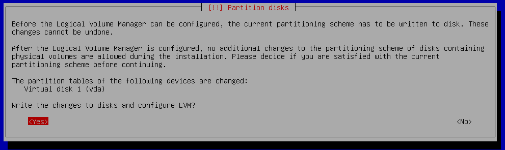 debian 9 installation write changes