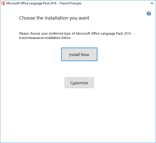 office language pack install now