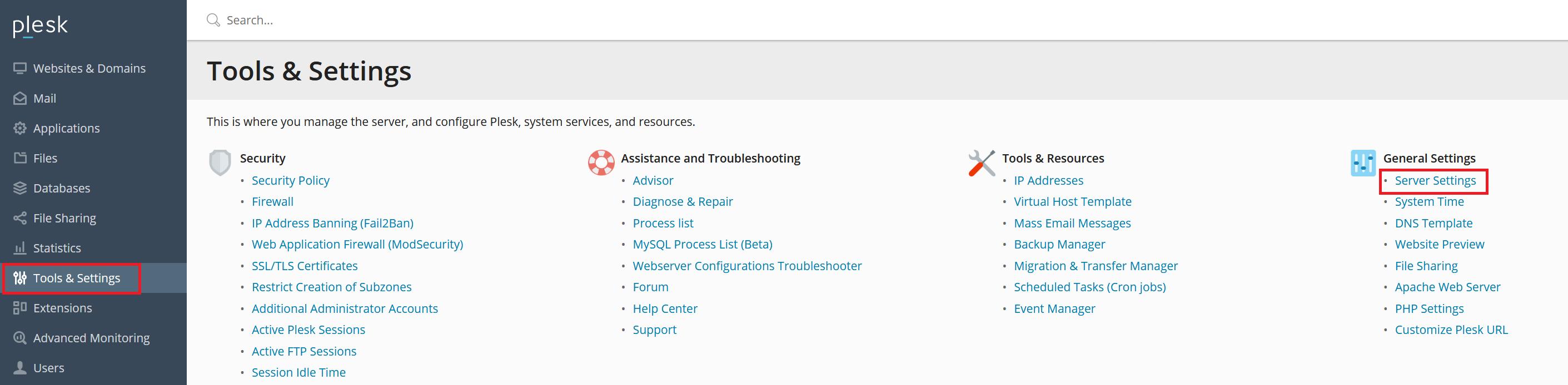 plesk general settings server settings