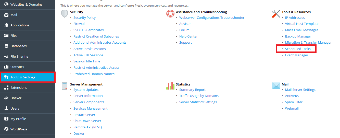 plesk tools and settings scheduled tasks