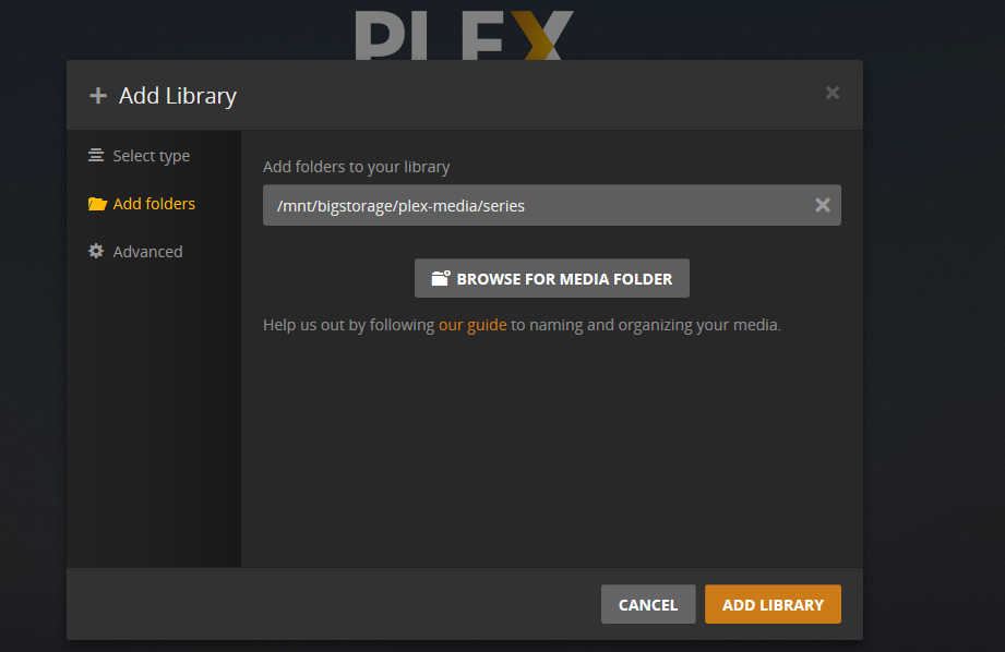 plex browser for media folder