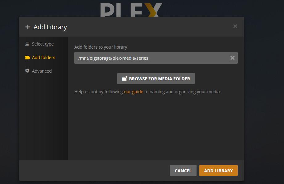 plex browser for media folder