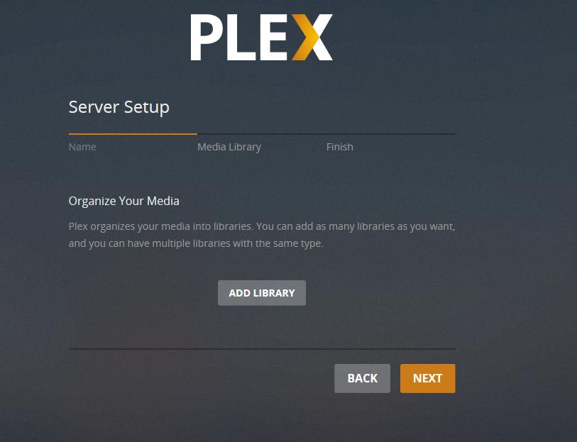 plex server setup add media