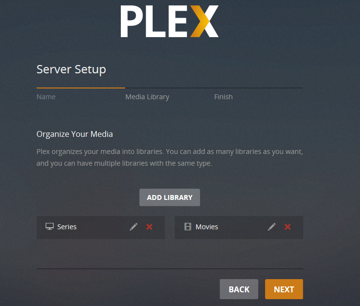 plex server setup finished