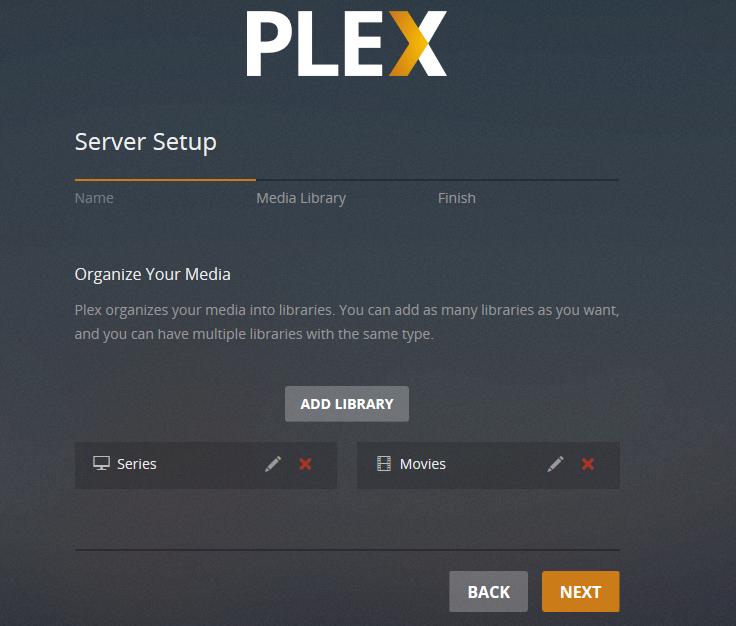plex server setup finished