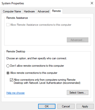 server 2019 rdp system properties allow rdp