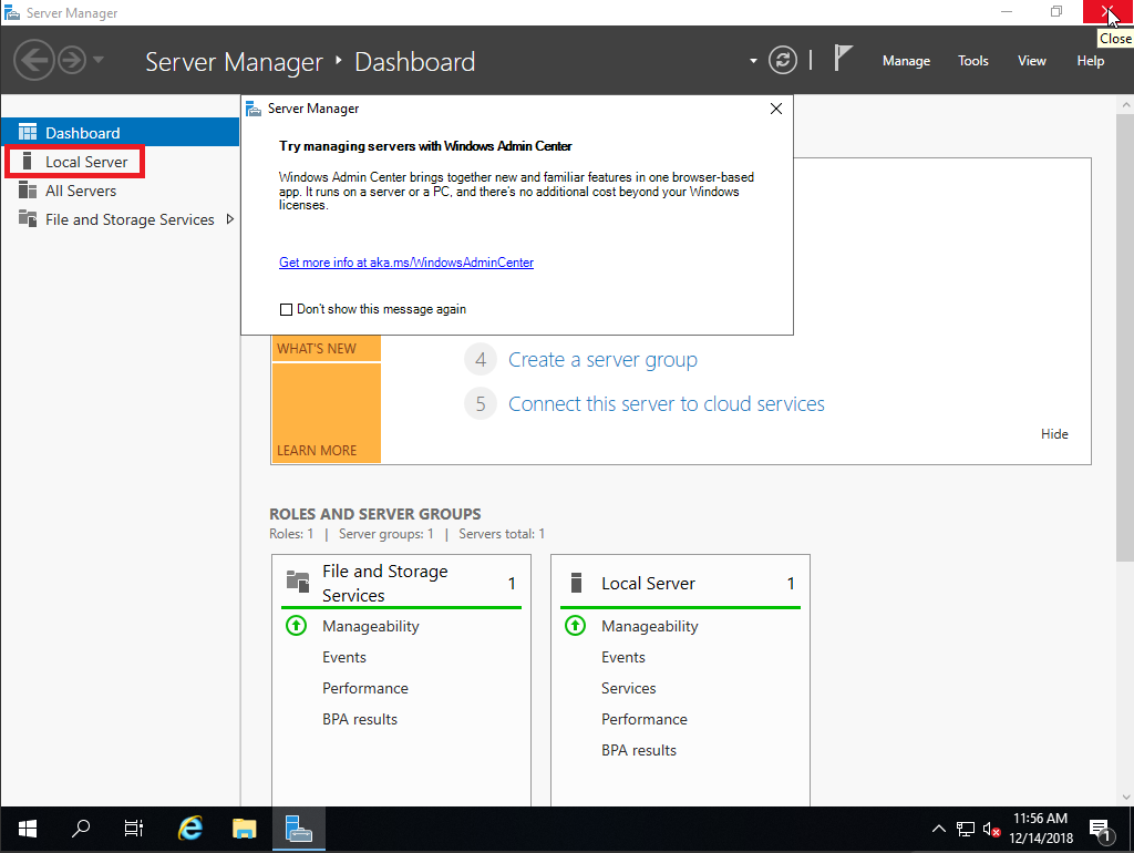 windows server manager dashboard local server
