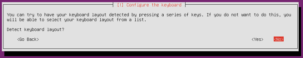 ubuntu 16 installation detect keyboard