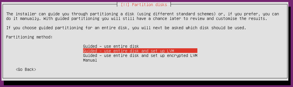 ubuntu 18 installation partition method