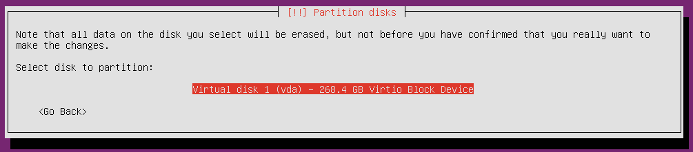 ubuntu 18 installation partitioning select disk