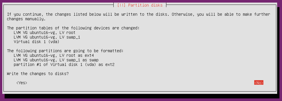 ubuntu 16 installation partitioning confirm changes