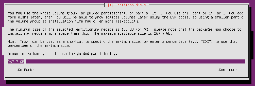 ubuntu 16 installation partitioning disk select size