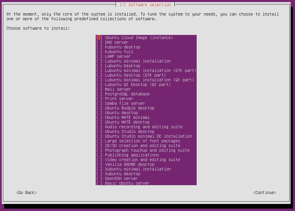 ubuntu 16 installation software selection