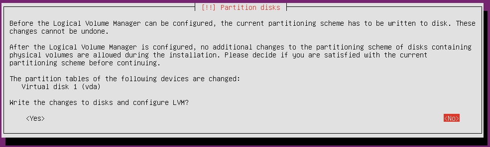 ubuntu 18 installation write changes