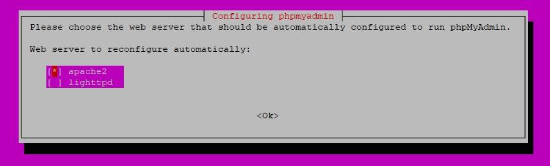 configuring phpmyadmin select webserver