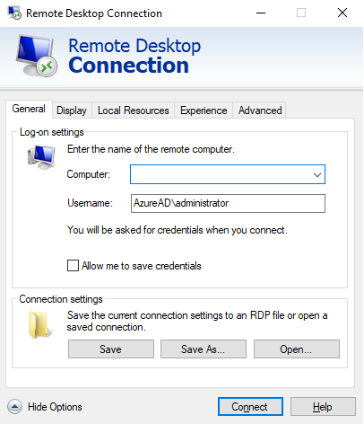 windows 10 remote desktop connection options