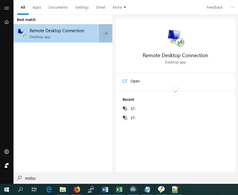 windows 10 search for mstsc