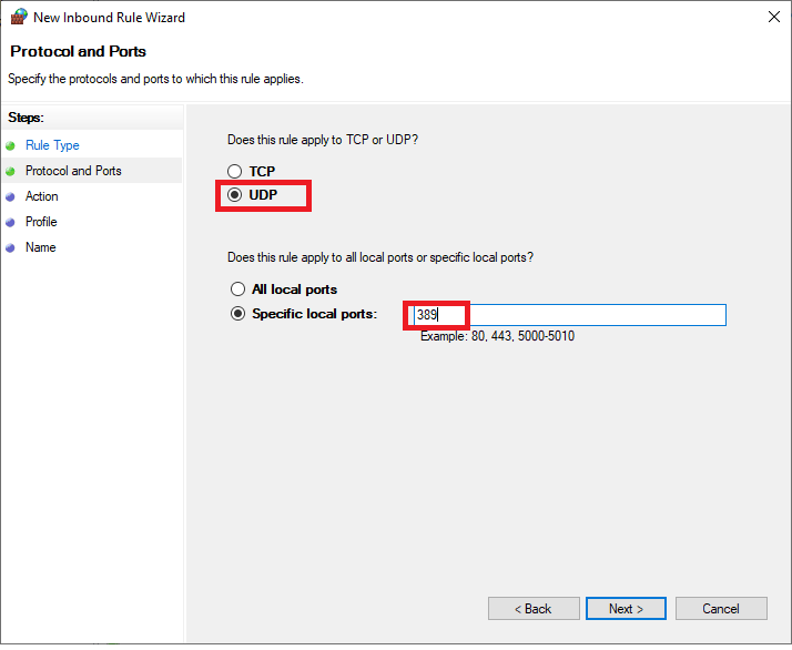 windows firewall new rule protocol and port
