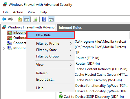 windows firewall inbound new rule