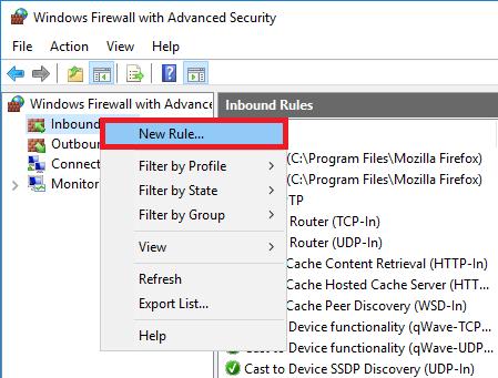 windows firewall inbound new rule
