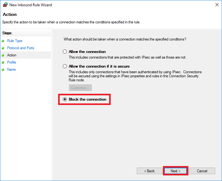 windows firewall new rule action block