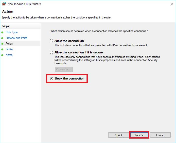 windows firewall new rule action block