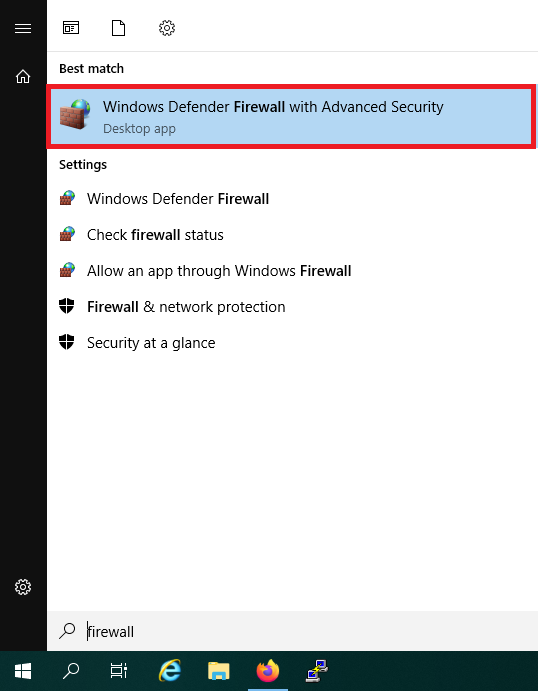 windows search firewall